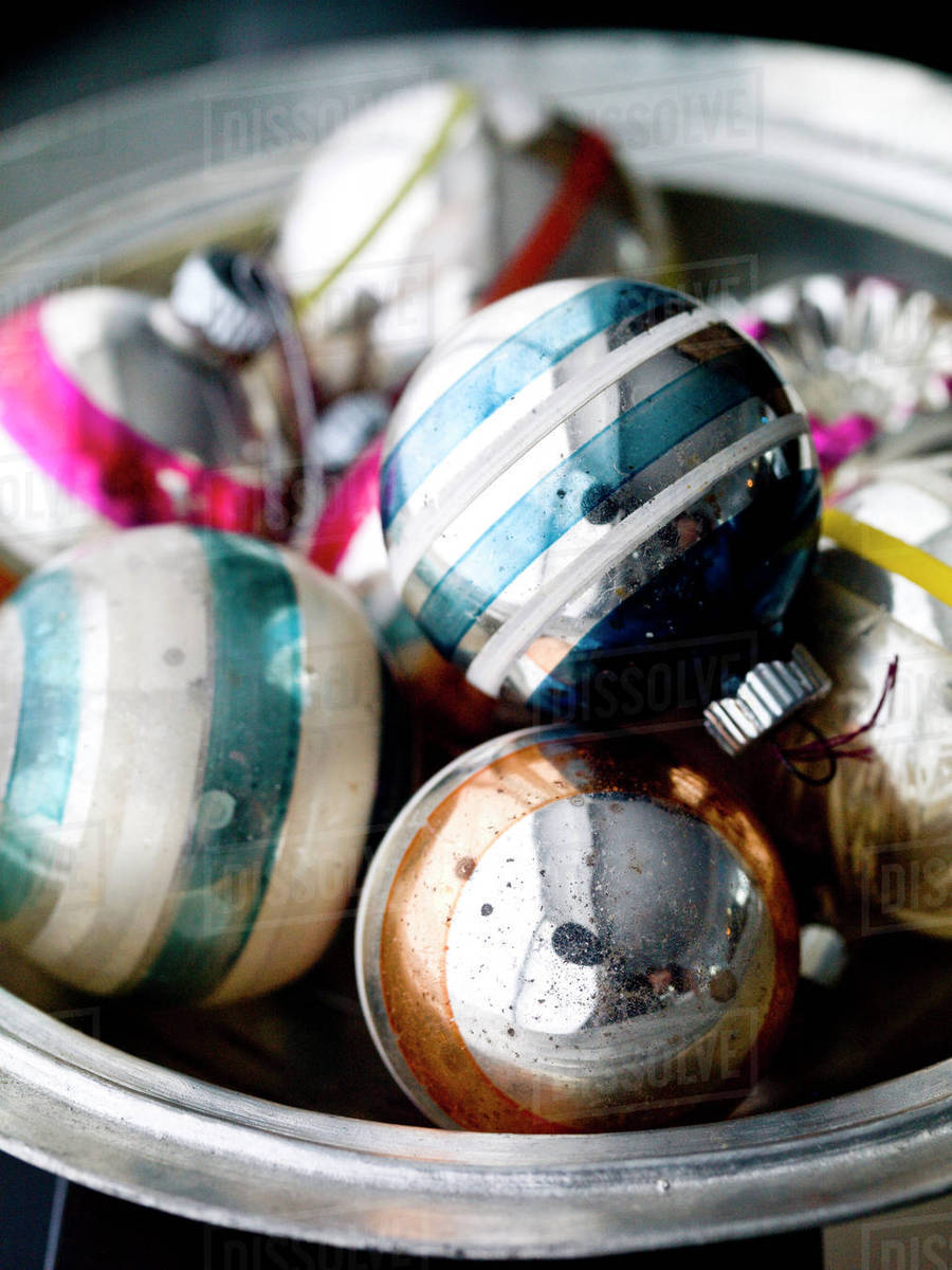 Old Fashioned Christmas Ornaments In Bowl Stock Photo