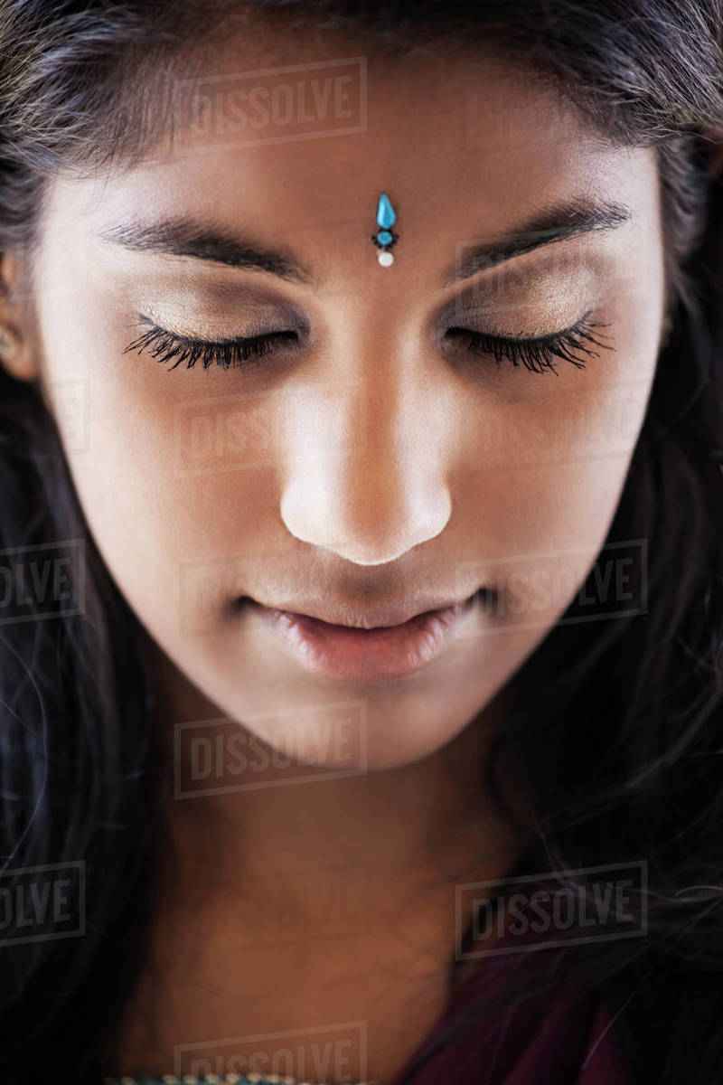 Indian Woman With Jewel On Forehead