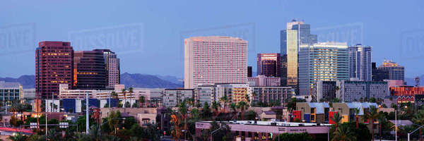 High Rise Buildings of Downtown Phoenix at Sunrise Royalty-free stock photo