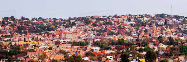 Skyline of San Miguel de Allende at Dusk Royalty-free stock photo