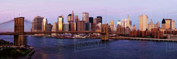 Lower Manhattan Skyline and Brooklyn Bridge at Dawn Royalty-free stock photo