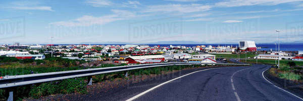 Road Leading to the Town of Keflavik Royalty-free stock photo