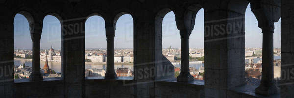 Budapest through Stone Arches Royalty-free stock photo