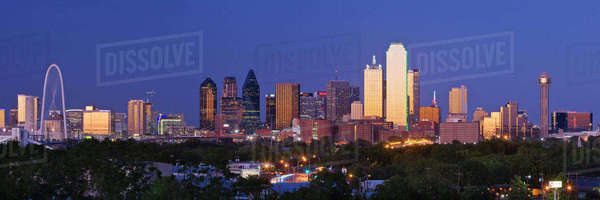 Downtown Dallas Skyline at Dusk Royalty-free stock photo