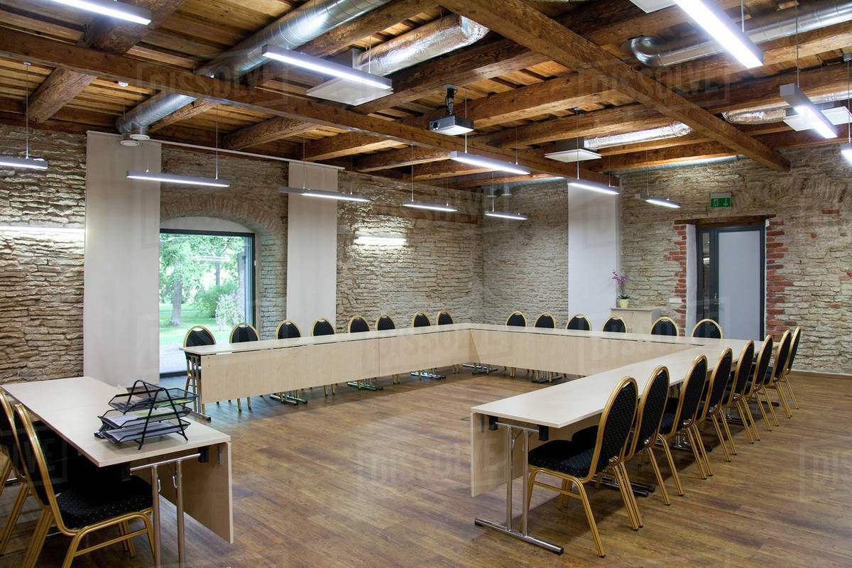 Lshaped Table In Conference Room Stock Photo Dissolve - L shaped conference table