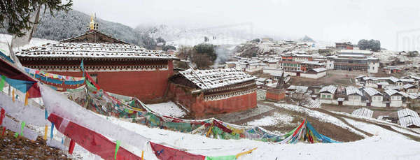Snow covering village, Lhamo, Tibet, Asia Royalty-free stock photo