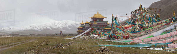 Temple and mountains, Machen Lhagong, Tibet, Asia Royalty-free stock photo