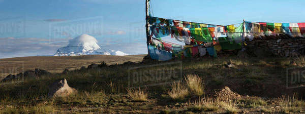 View of Mount Kailash from Chiu Gompa or Monastery with Prayer flags fluttering in the wind Royalty-free stock photo