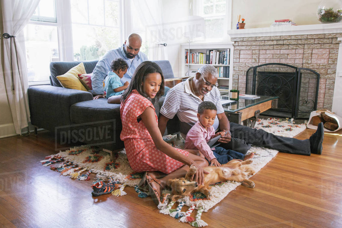 African American family relaxing in living room D145_236_496