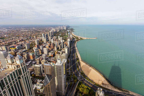 Waterfront cityscape, Chicago, Illinois, United States Royalty-free stock photo