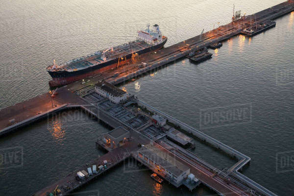 Aerial view of freighter at port Royalty-free stock photo