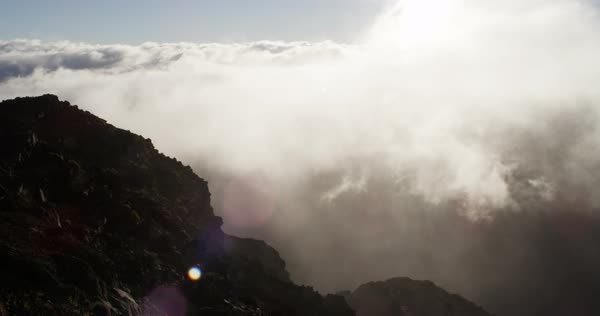 Clouds at top of Haleakala Crater during sunrise Royalty-free stock video