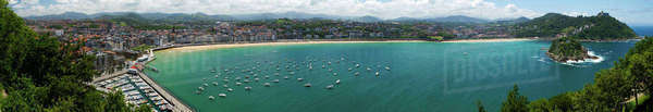 Panoramic view of harbor and bay, San Sebastian, Basque Autonomous Community, Spain Royalty-free stock photo