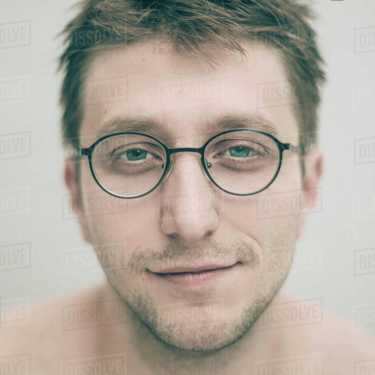 b804d5ec29d Portrait of smiling Caucasian man wearing eyeglasses - Stock Photo ...