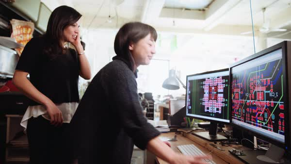 Asian women working with computers in office Royalty-free stock video