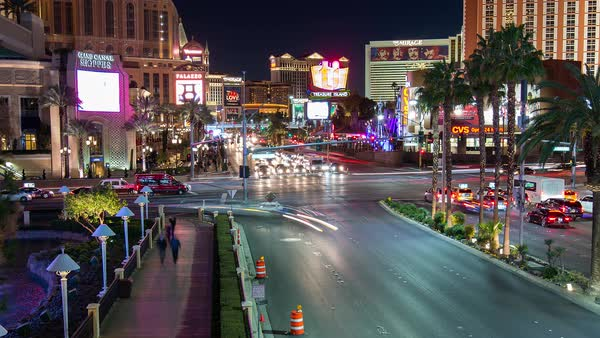 Las Vegas strip at night, Nevada, United States Royalty-free stock video