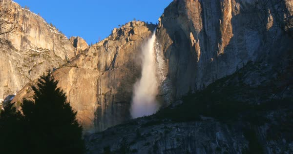 Yosemite Falls from valley floor, Yosemite, California, United States Royalty-free stock video
