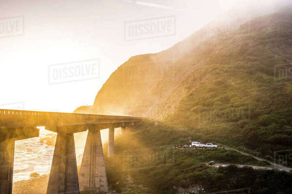 Fog on bridge near ocean Royalty-free stock photo