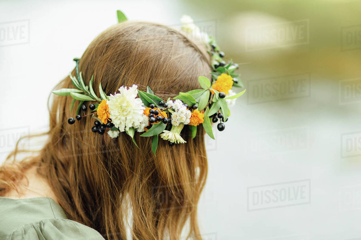 Close up of middle eastern woman wearing flower crown stock photo close up of middle eastern woman wearing flower crown izmirmasajfo