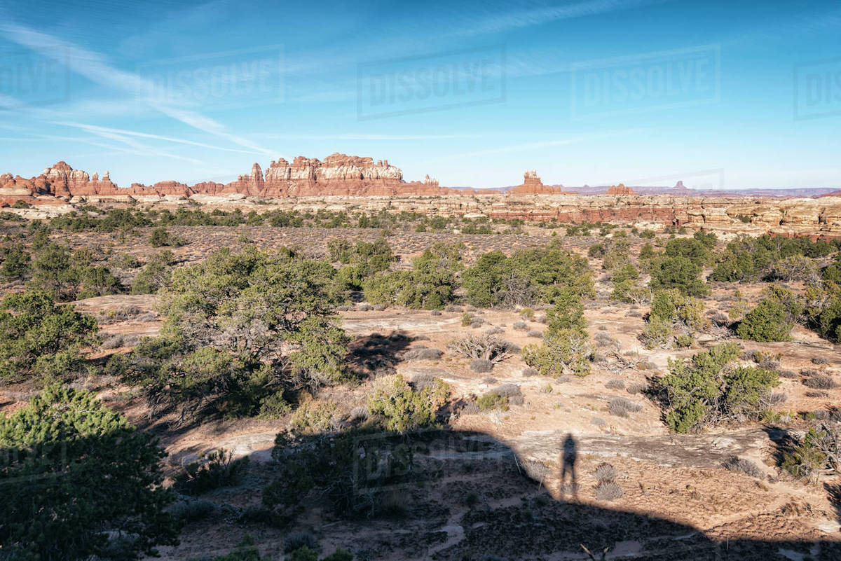 Shadow Of Person Admiring Scenic View Desert Moab Utah United States