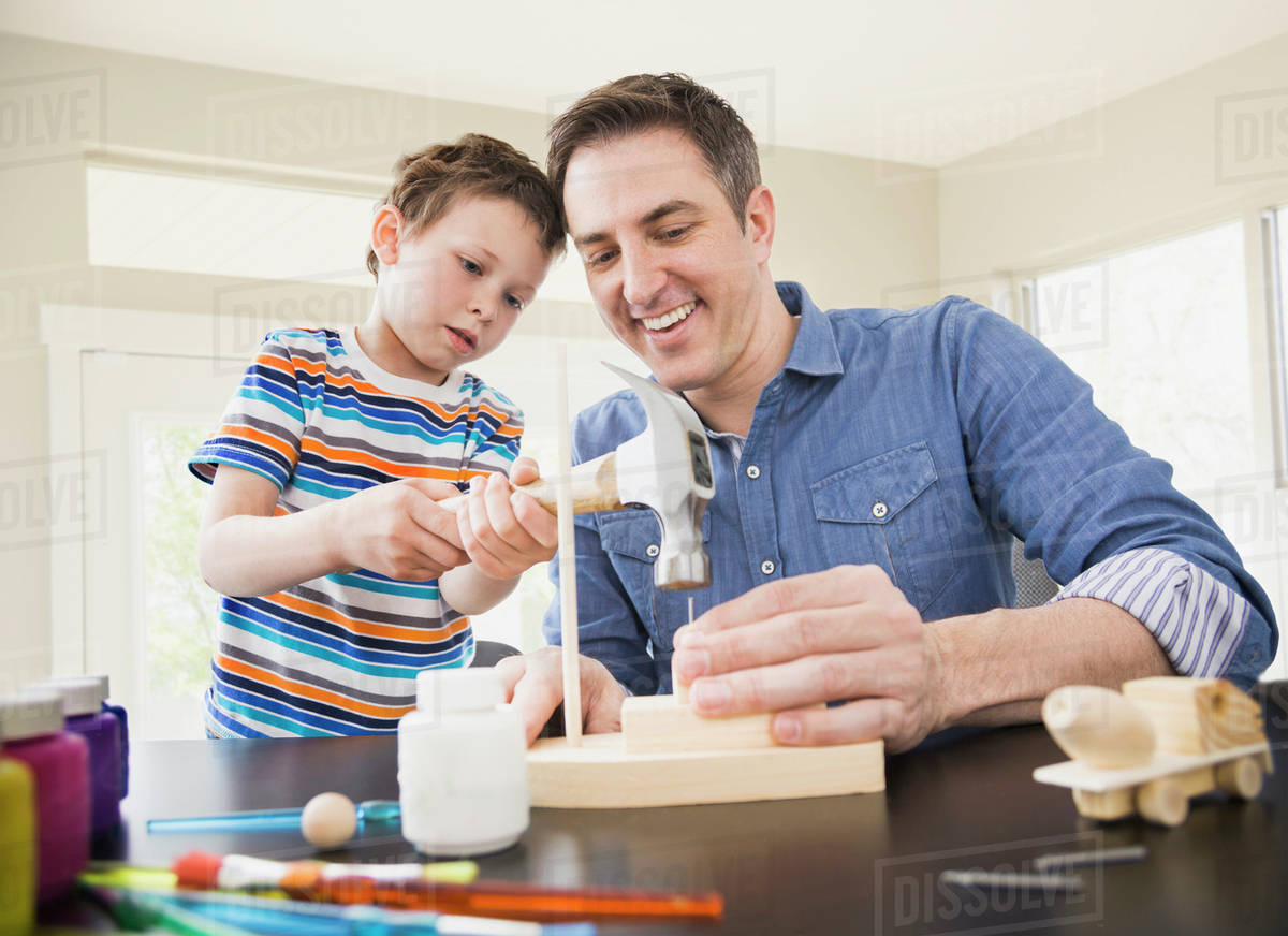 Caucasian Father Teaching Son Wood Crafts D145 34 942