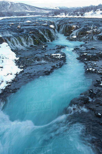 River flowing from waterfall, Bruarfoss, Sudhurland, Iceland Royalty-free stock photo