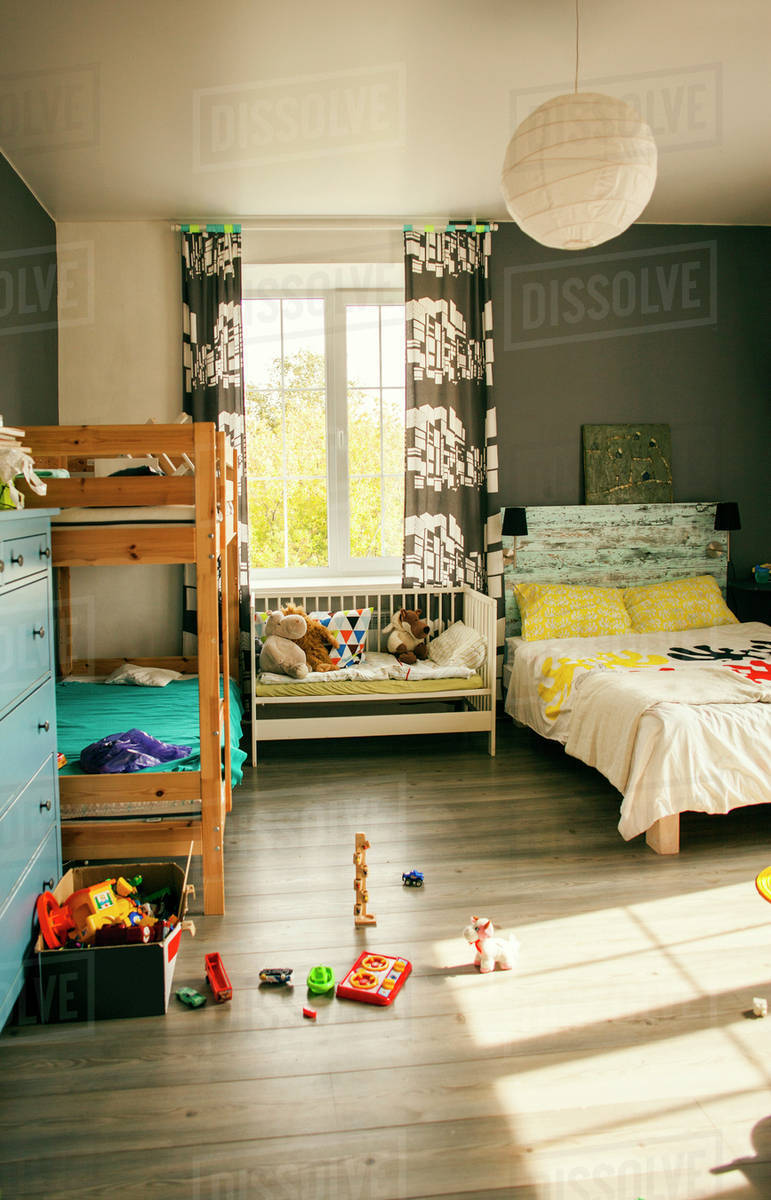 Picture of: Bunk Beds And Crib In Bedroom Of Child Stock Photo Dissolve