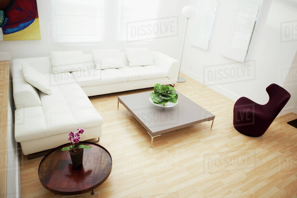 High Angle View Of Coffee Tables And Sofas In Modern D145 45 622