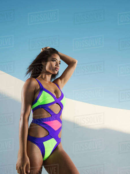 Mixed race woman wearing colorful swimsuit Royalty-free stock photo