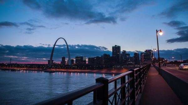 Timelapse of waterfront, St. Louis, Missouri, United States Rights-managed stock video