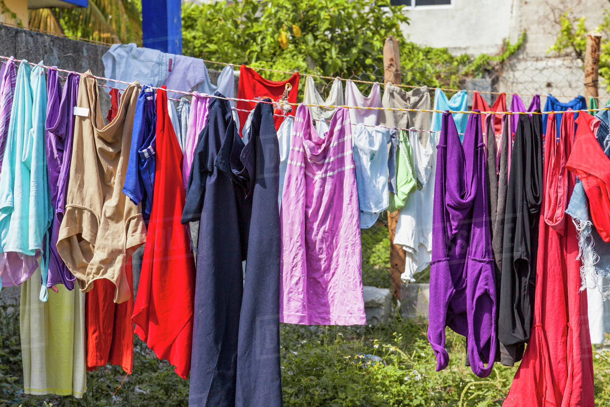 Laundry Clothing Hanging Out To Dry On A Line In Cancun Stock