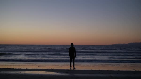 Back view of a man standing on a beach at sunset Royalty-free stock video