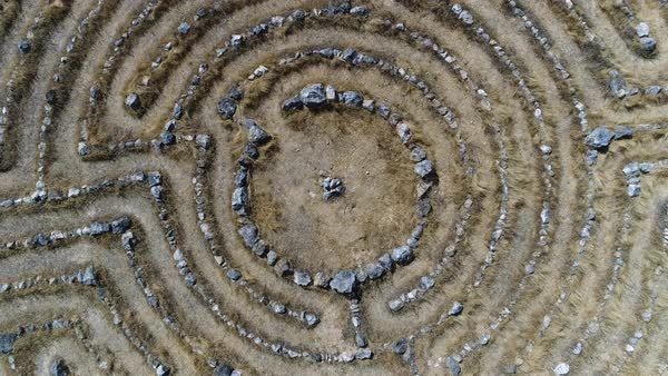 Top view shot of a stone maze Royalty-free stock video