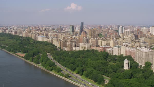 Aerial shot of high-rise residential buildings along Hudson River Rights-managed stock video