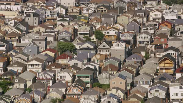 Aerial shot of homes in a suburb of New York City Rights-managed stock video