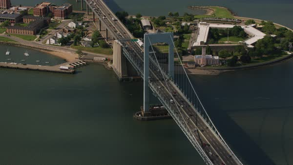 Aerial shot of Throgs Neck Bridge over East River Rights-managed stock video