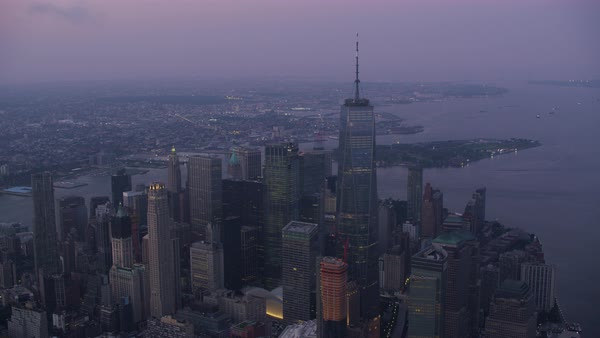 Aerial shot of Lower Manhattan cityscape with One World Trade Center Rights-managed stock video