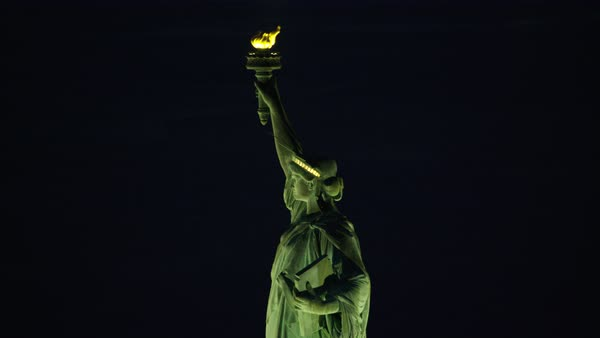 Aerial shot of Statue of Liberty at night Rights-managed stock video