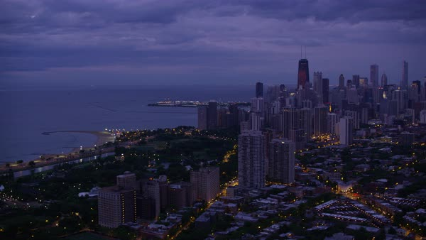 Aerial shot of shore of Lake Michigan at Lincoln Park Rights-managed stock video