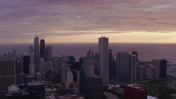 Aerial shot of cityscape of downtown Chicago at sunrise Rights-managed stock video