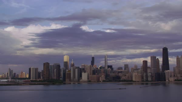 Aerial shot of Chicago skyline seen from above Lake Michigan Rights-managed stock video