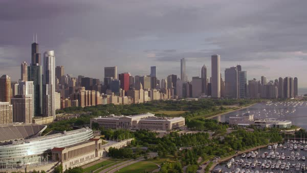 Aerial shot flying over the Field Museum and Grant Park Rights-managed stock video