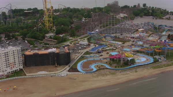 Aerial shot of Cedar Point amusement park Rights-managed stock video