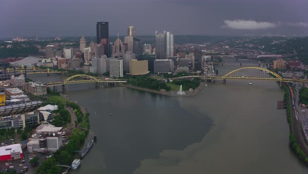 Aerial shot of the Ohio River and Point State Park, where the Ohio splits into the Allegheny and Monongahela Rivers Rights-managed stock video