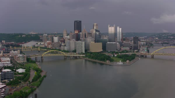 Aerial shot of downtown Pittsburgh cityscape Rights-managed stock video