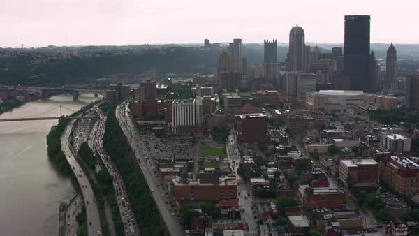 Aerial shot of downtown Pittsburgh cityscape seen from above Monongahela river Rights-managed stock video