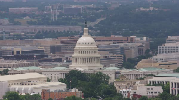 Aerial shot of Washington, D.C. with the Capitol Building at the center Rights-managed stock video