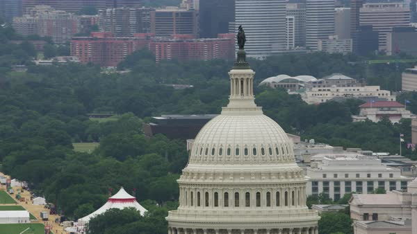 Push-out shot of dome of United States Capitol Building Rights-managed stock video