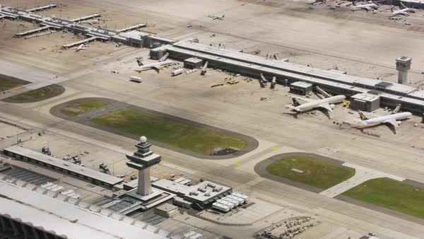 Aerial shot of Washington Dulles International Airport Rights-managed stock video