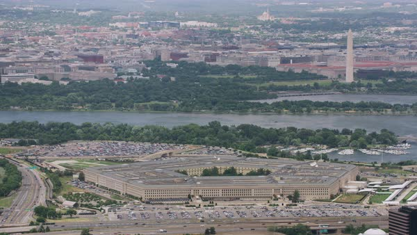 Aerial shot of The Pentagon Rights-managed stock video